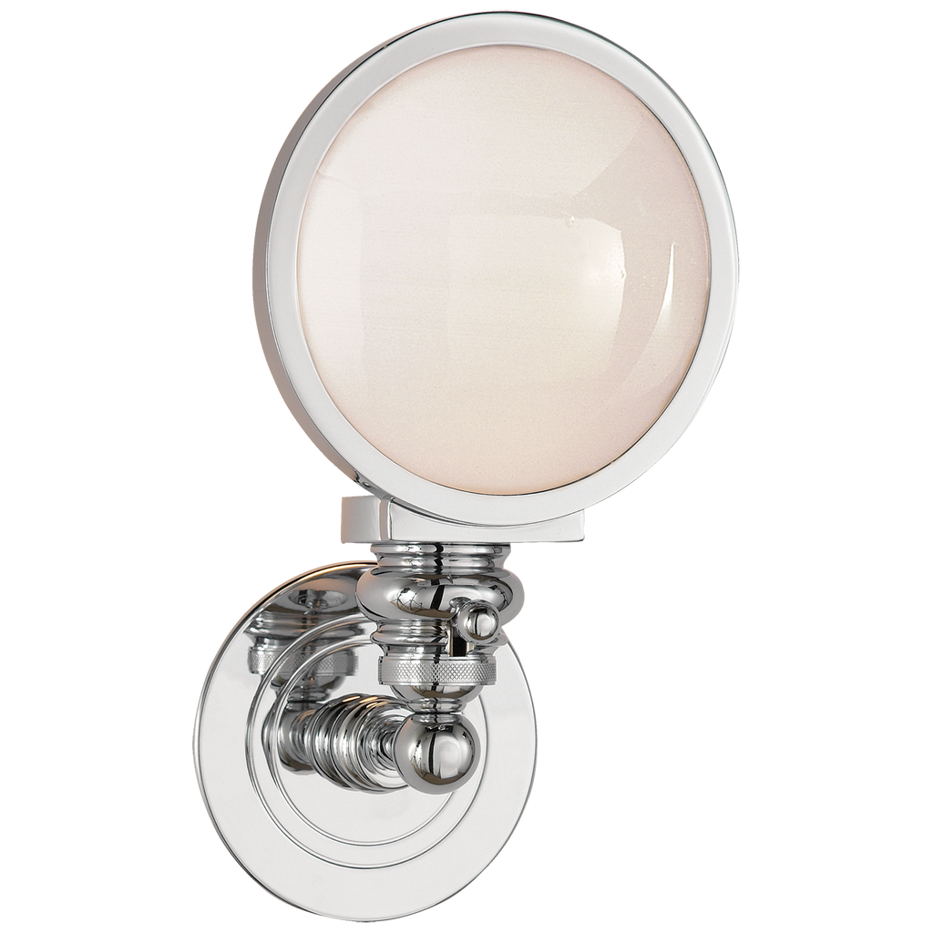 Boston Head Light Sconce in Chrome with White Glass