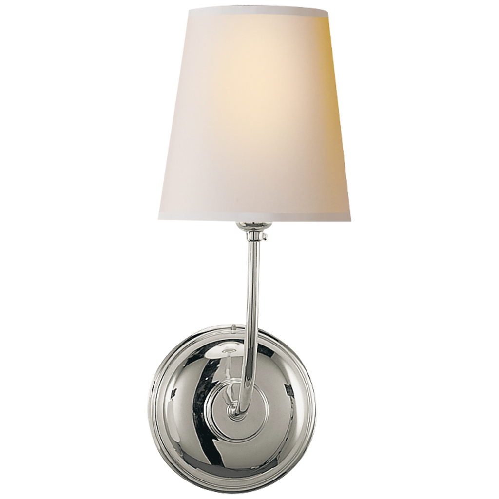 Vendome Single Sconce in Polished Nickel with Natural Paper Shade