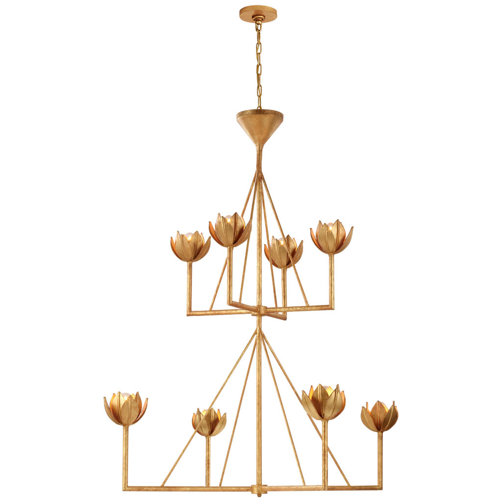 Alberto Large Two Tier Chandelier in Antique Gold Leaf
