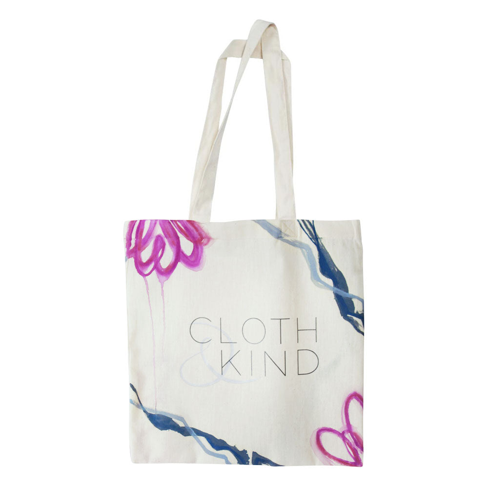 Mia Risberg Hand Painted CLOTH & KIND Cotton Tote IV