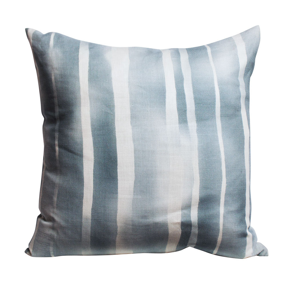 Watery Blue Striped Pillow