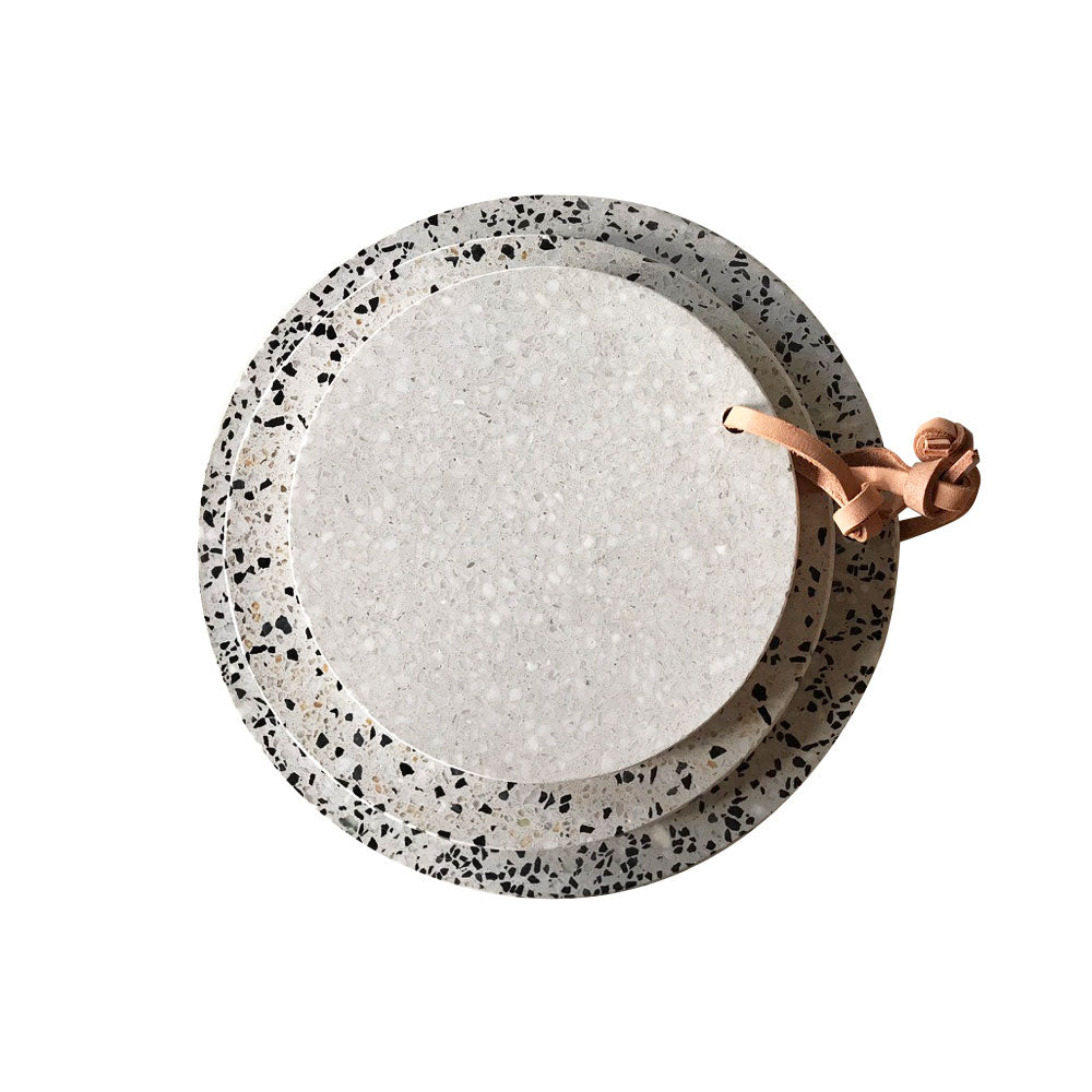 Terrazzo and Leather Round Serving Platters, Set of 3