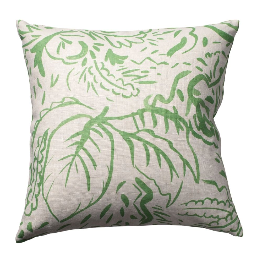 The Large Botanical Reversible Pillow in Soft Green