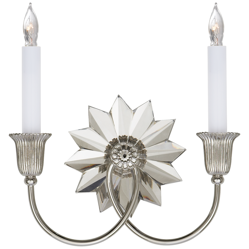 Huntingdon Double Sconce in Polished Nickel and Crystal
