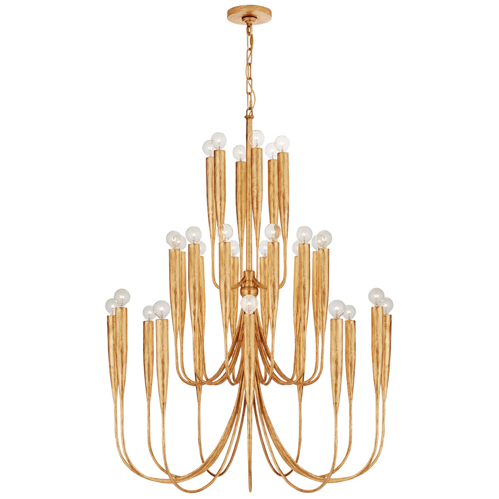 Acadia Large Chandelier in Antique Gold Leaf