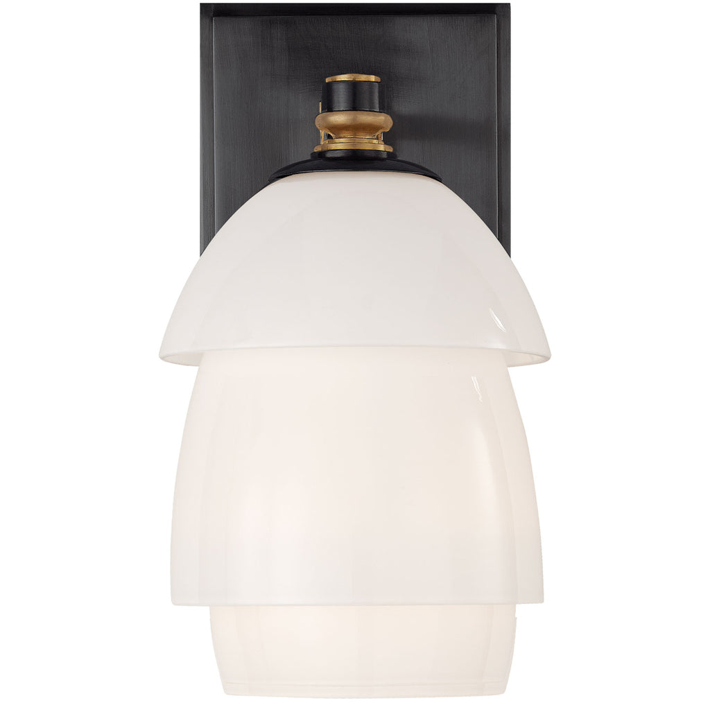 Whitman Small Sconce in Bronze and Hand-Rubbed Antique Brass