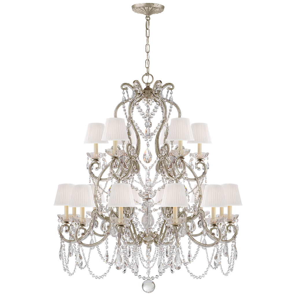 Adrianna Medium Chandelier in Antique Silver Leaf and Crystal with Silk Shades