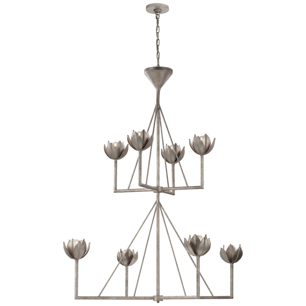 Alberto Large Two Tier Chandelier in Burnished Silver Leaf