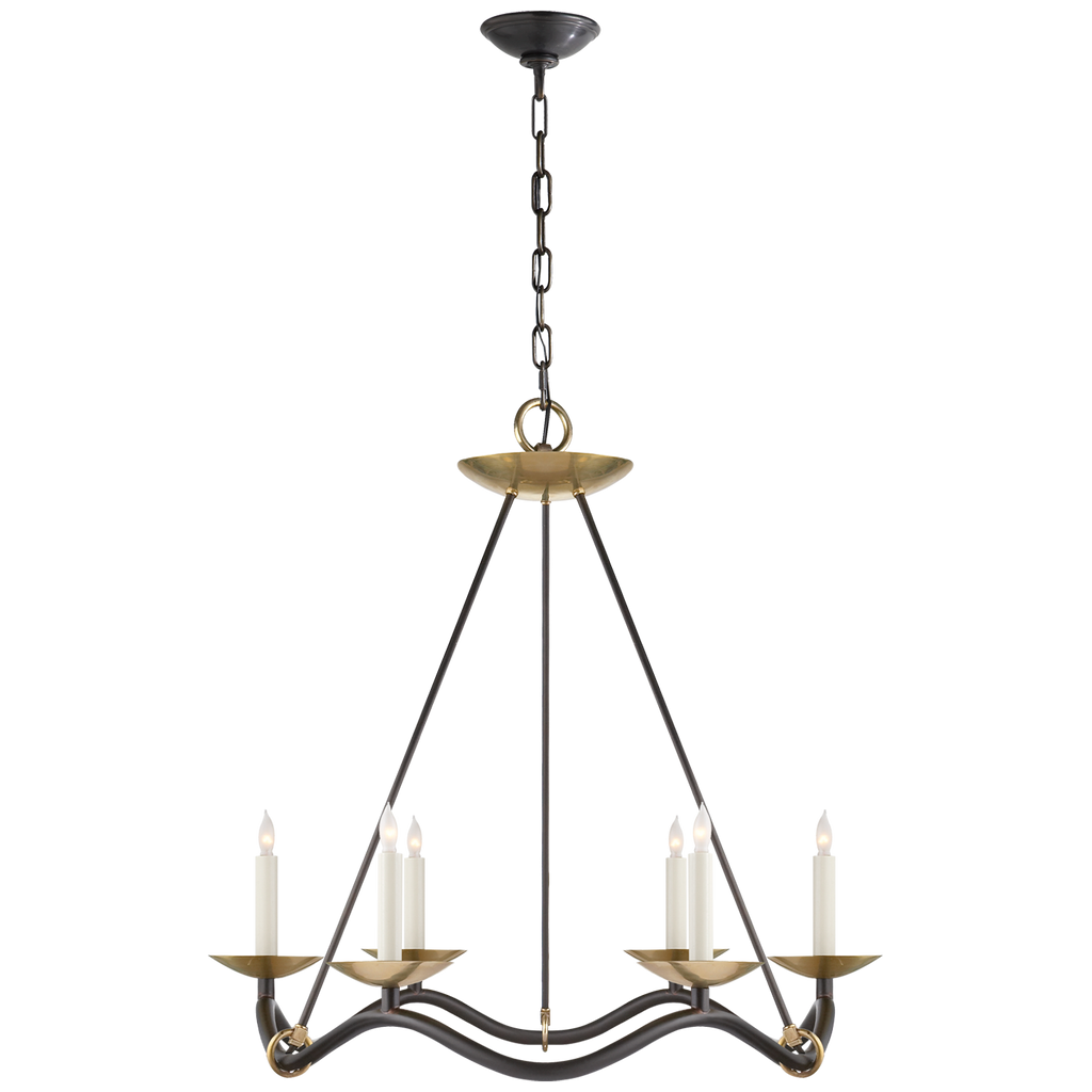 Choros Chandelier in Aged Iron with Hand-Rubbed Antique Brass Accents