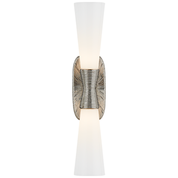 Utopia Large Band Sconce in Polished Nickel with White Glass