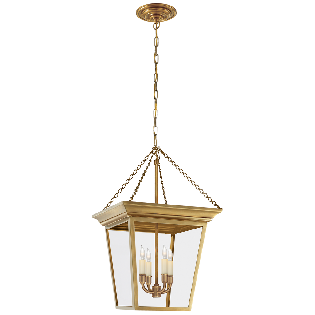 Cornice Small Lantern in Hand-Rubbed Antique Brass