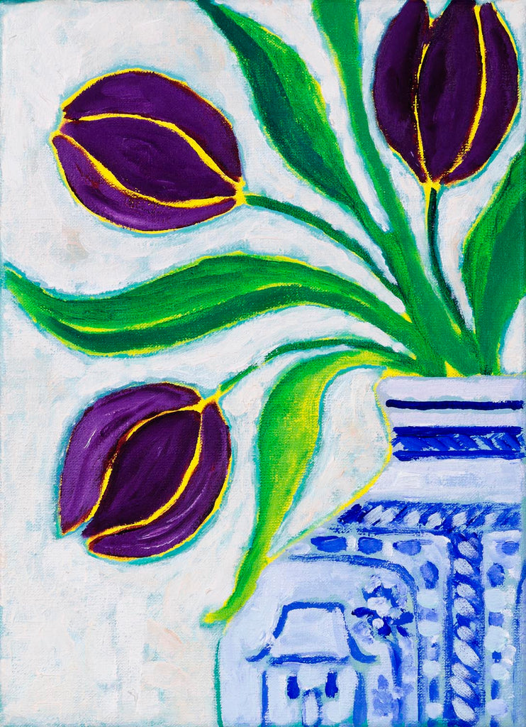 Purple Tulips in Ginger Jar