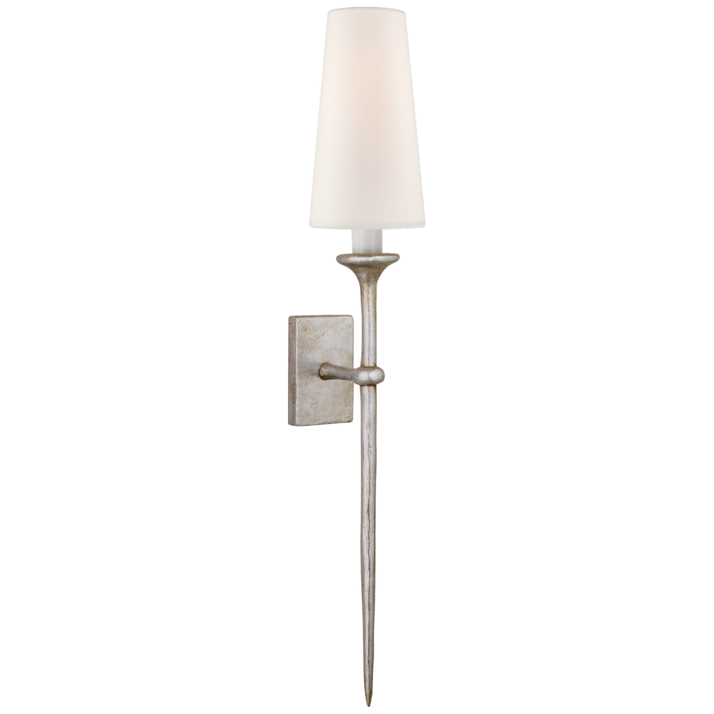 Iberia Single Sconce in Burnished Silver Leaf with Linen Shade