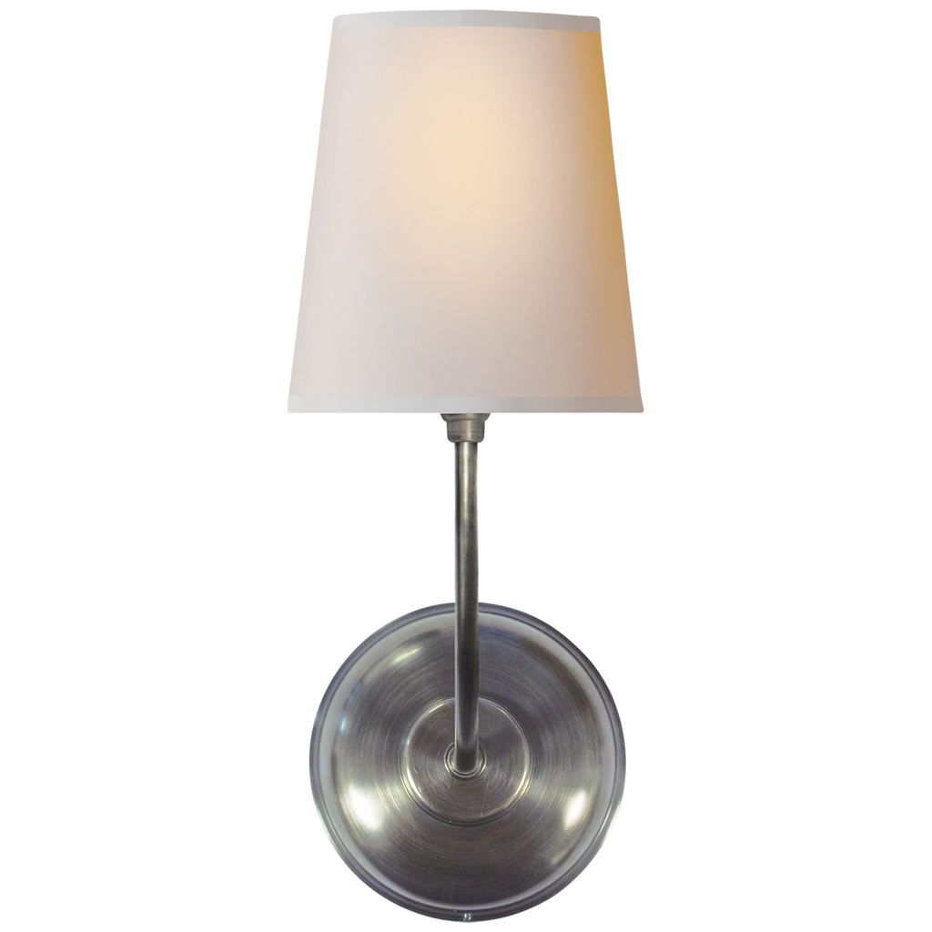Vendome Single Sconce in Antique Silver with Natural Paper Shade