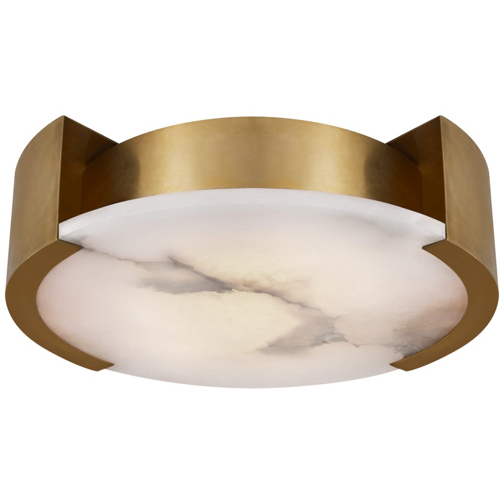 Melange Large Flush Mount in Antique-Burnished Brass with Alabaster