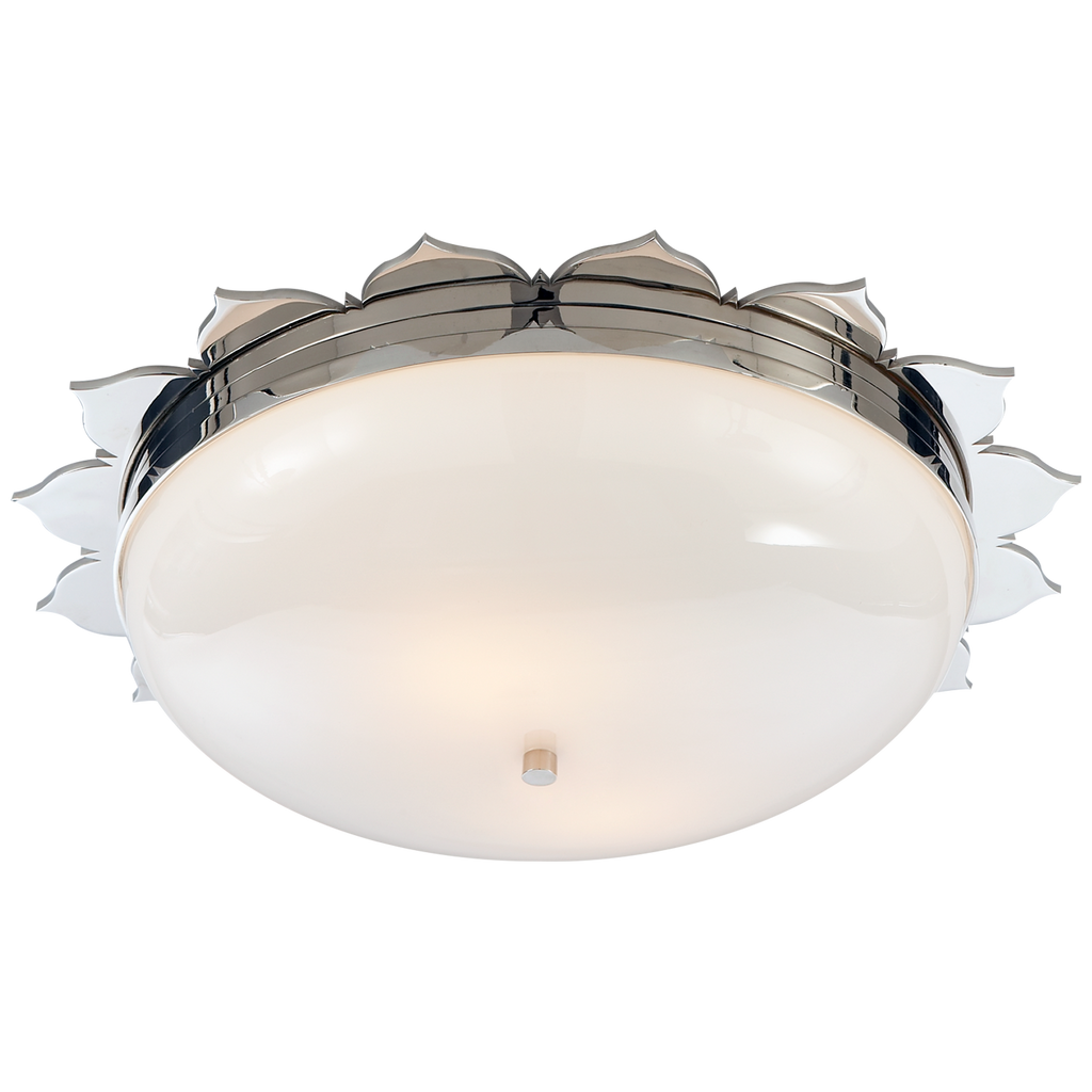 Rachel Large Flush Mount in Polished Nickel with White Glass
