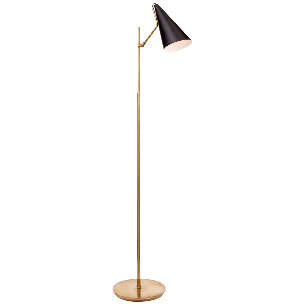 Clemente Floor Lamp in Hand-Rubbed Antique Brass with Black