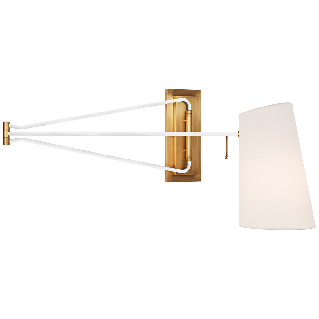 Keil Large Swing Arm Wall Light in Hand-Rubbed Antique Brass and White with Linen Shade
