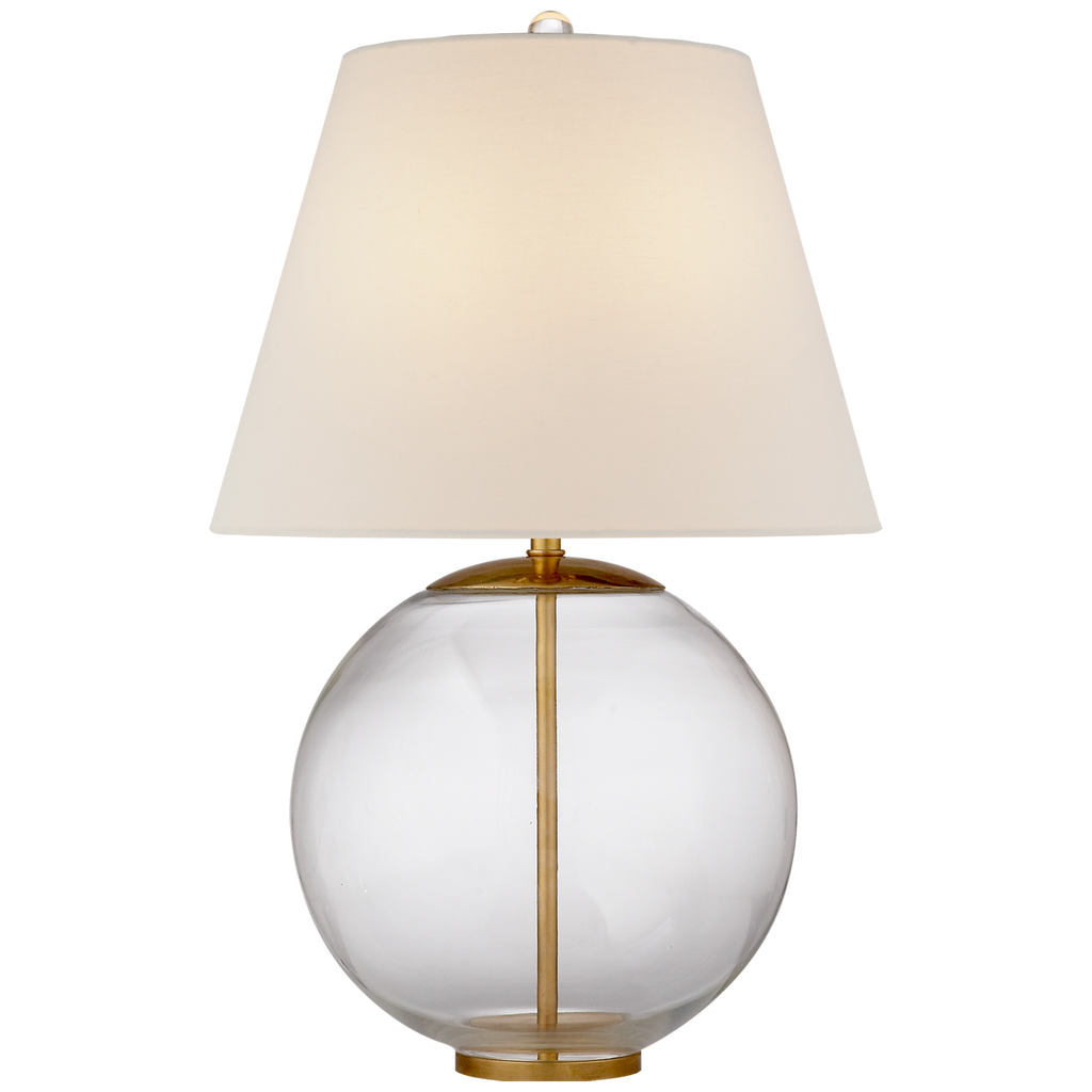 Morton Table Lamp in Clear Glass with Linen Shade