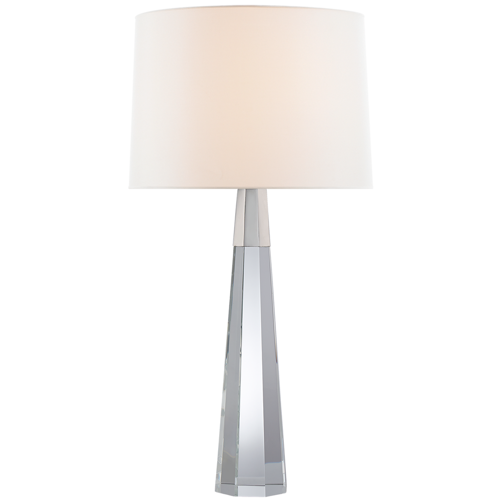 Olsen Table Lamp in Crystal and Polished Nickel with Linen Shade