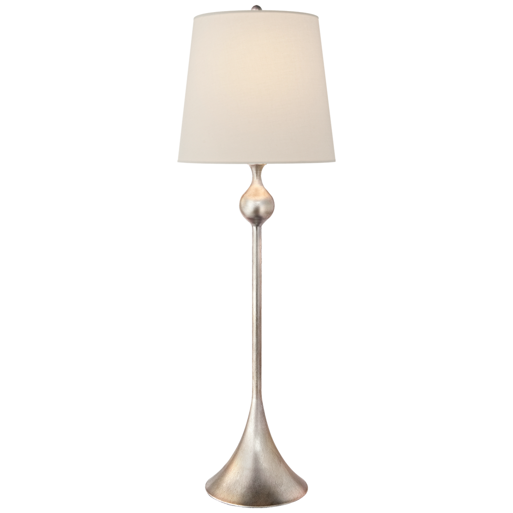 Dover Buffet Lamp in Burnished Silver Leaf with Linen Shade