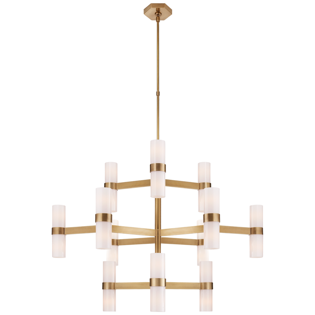 Margita Medium Chandelier in Hand-Rubbed Antique Brass with White Glass