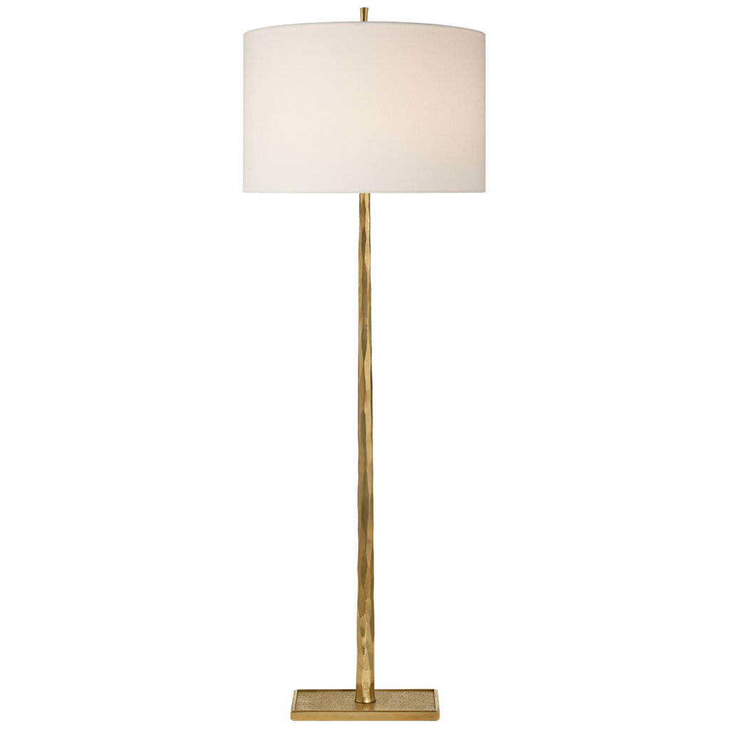 Lyric Branch Floor Lamp in Soft Brass with Linen Shade