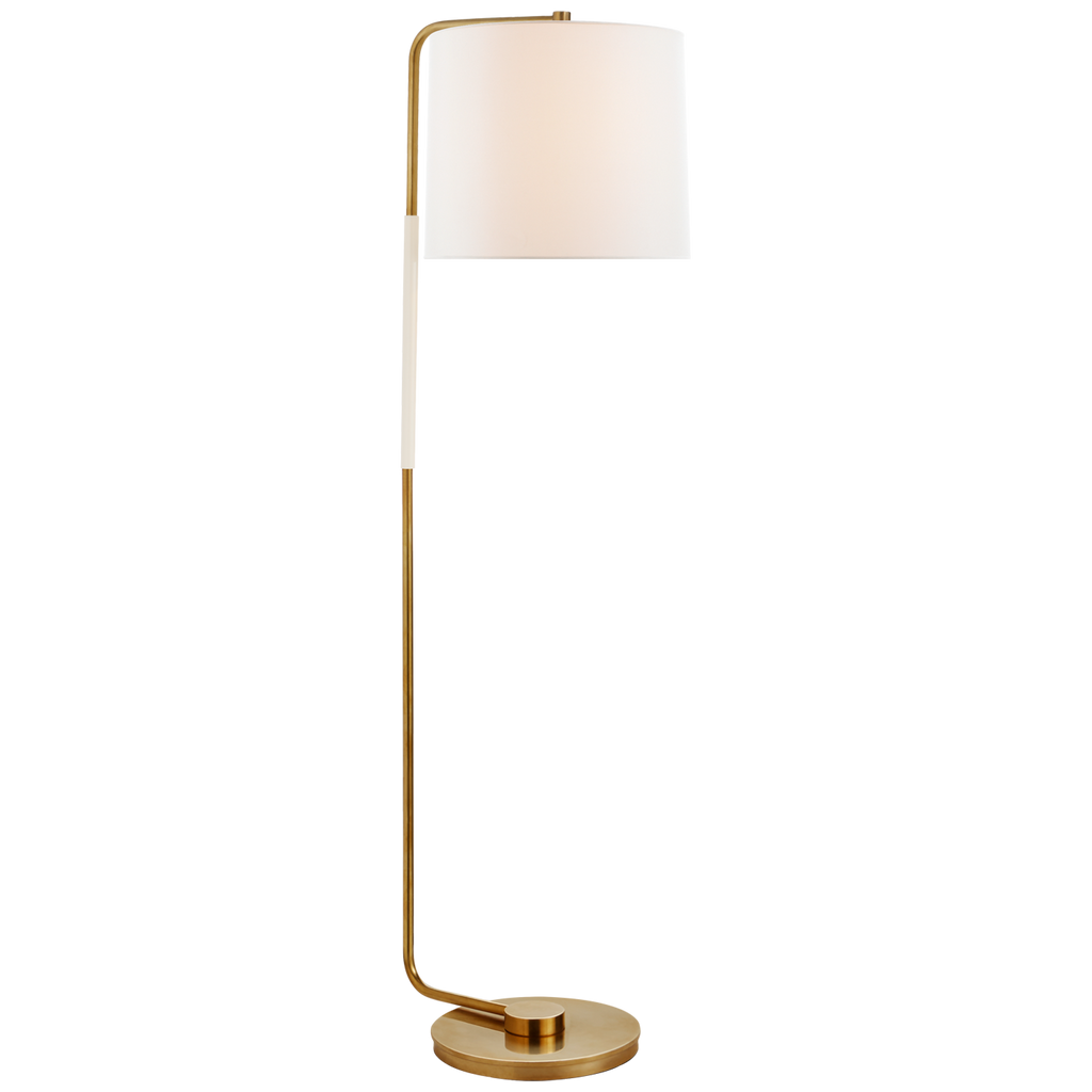 Swing Articulating Floor Lamp in Soft Brass with Linen Shade