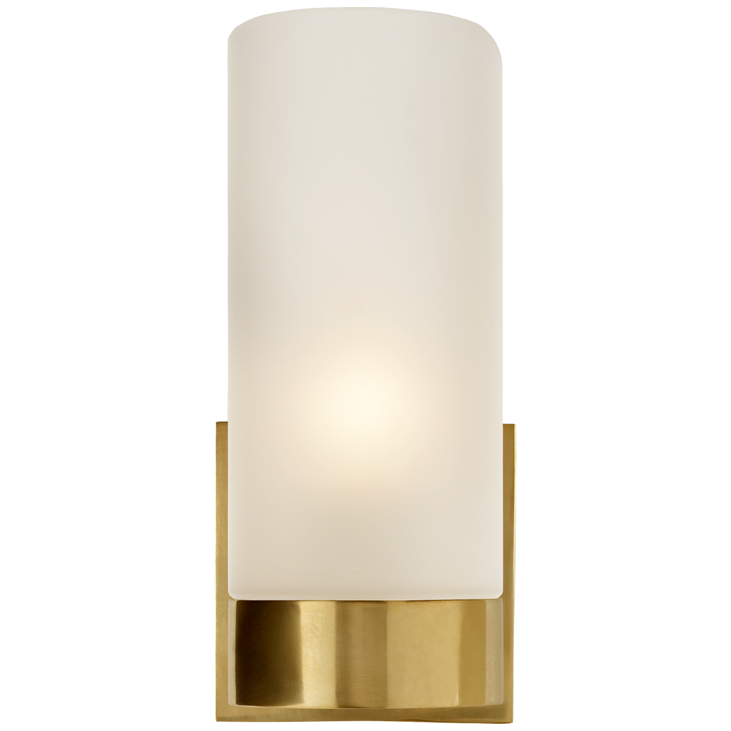 Urbane Sconce in Soft Brass with Frosted Glass