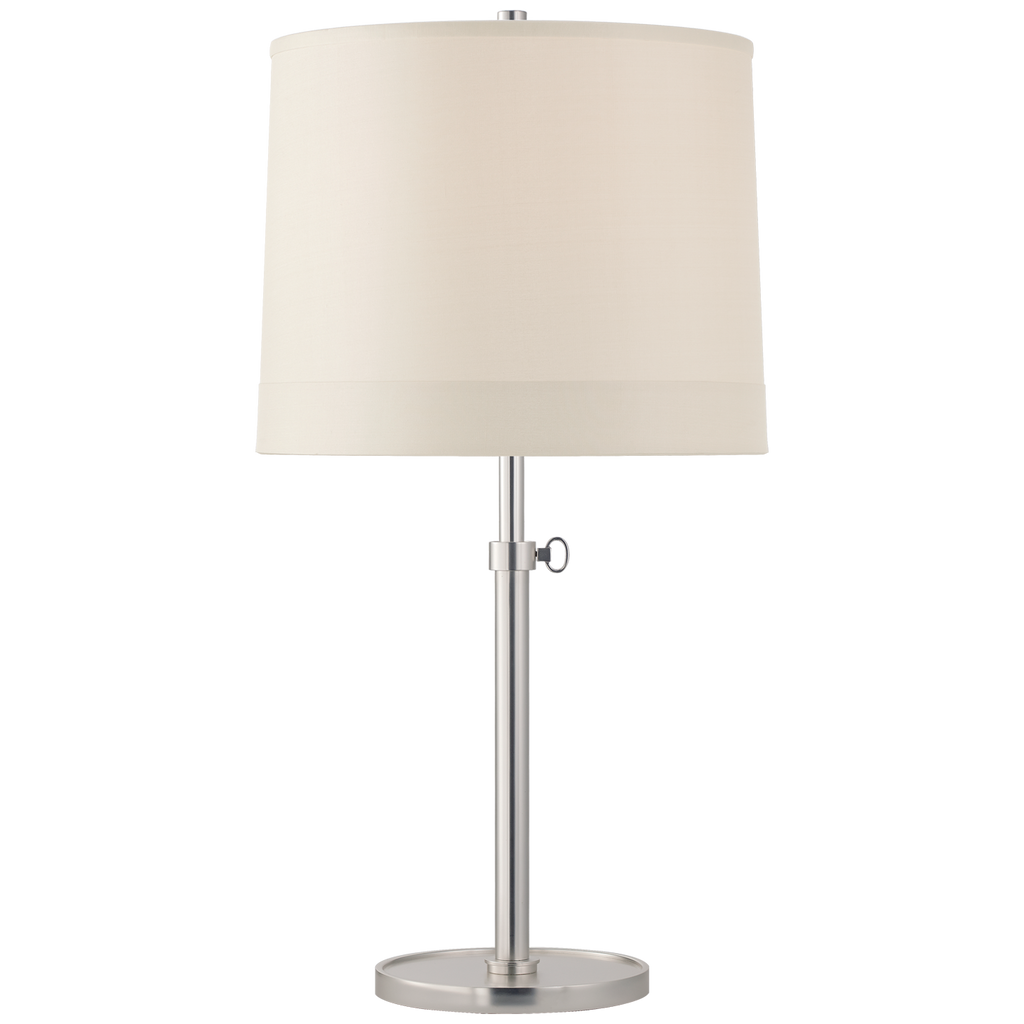 Simple Adjustable Table Lamp in Soft Silver with Silk Banded Shade
