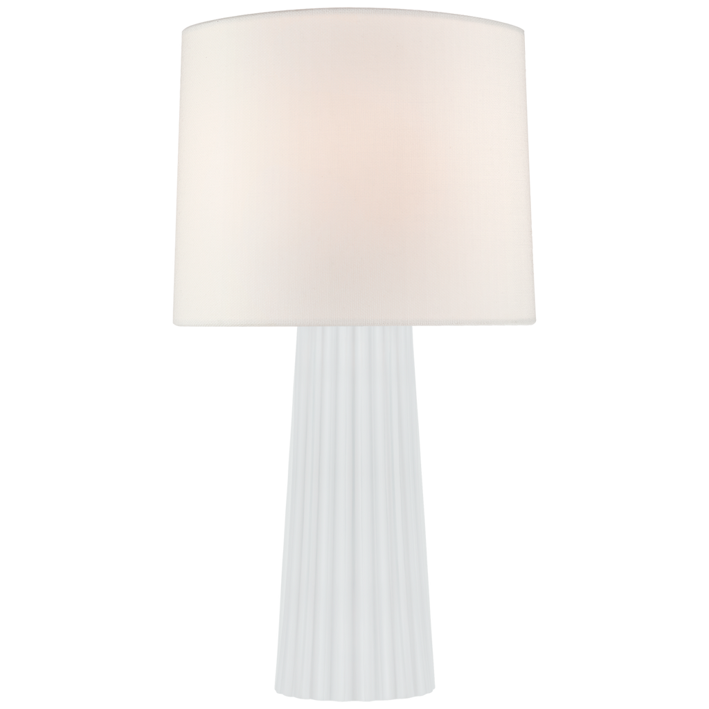 Danube Medium Table Lamp in White Glass with Linen Shade