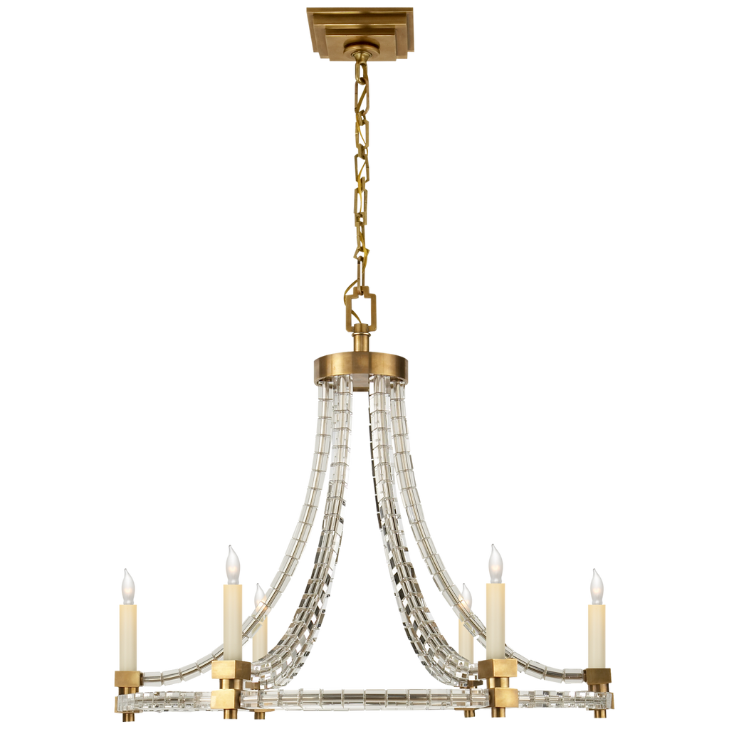 Crystal Cube Round Flatline Chandelier in Antique-Burnished Brass