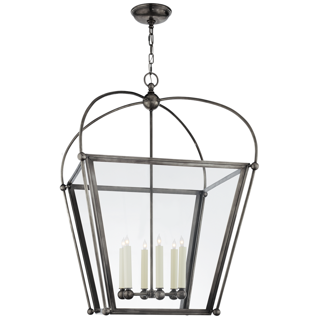 Plantation Large Square Lantern in Bronze with Clear Glass