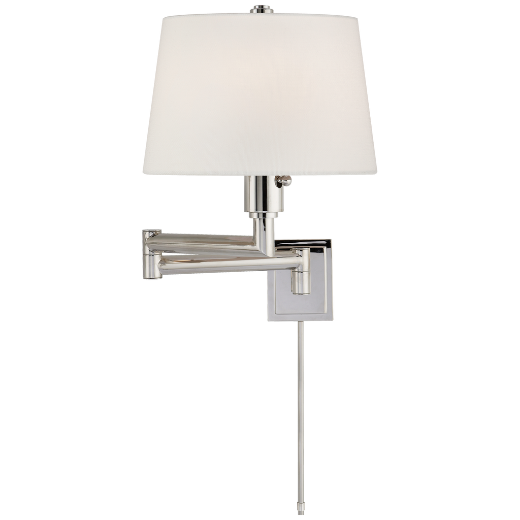 Chunky Swing Arm in Polished Nickel with Linen Shade