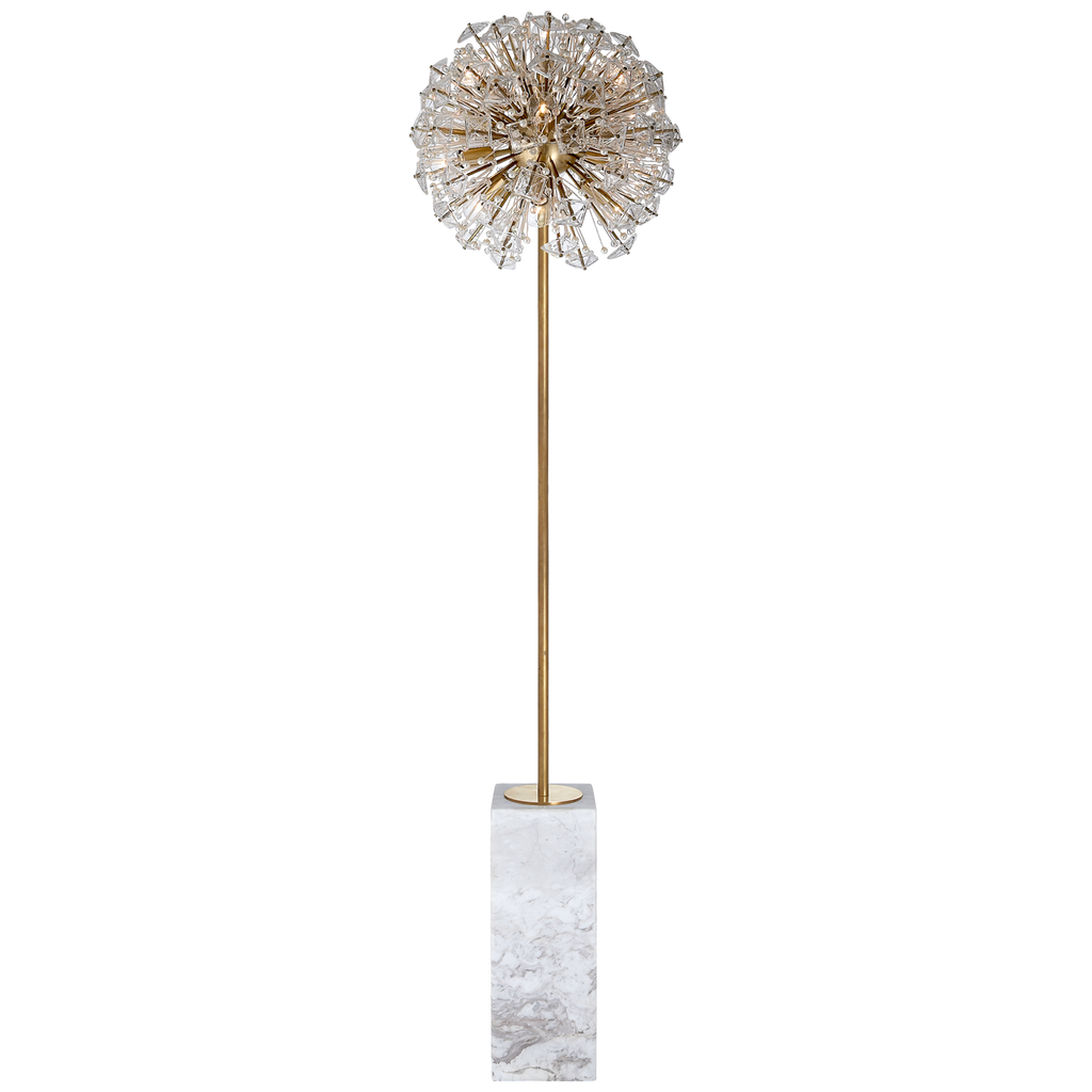 Dickinson Floor Lamp in Soft Brass and White Marble with Clear Glass and Cream Pearls