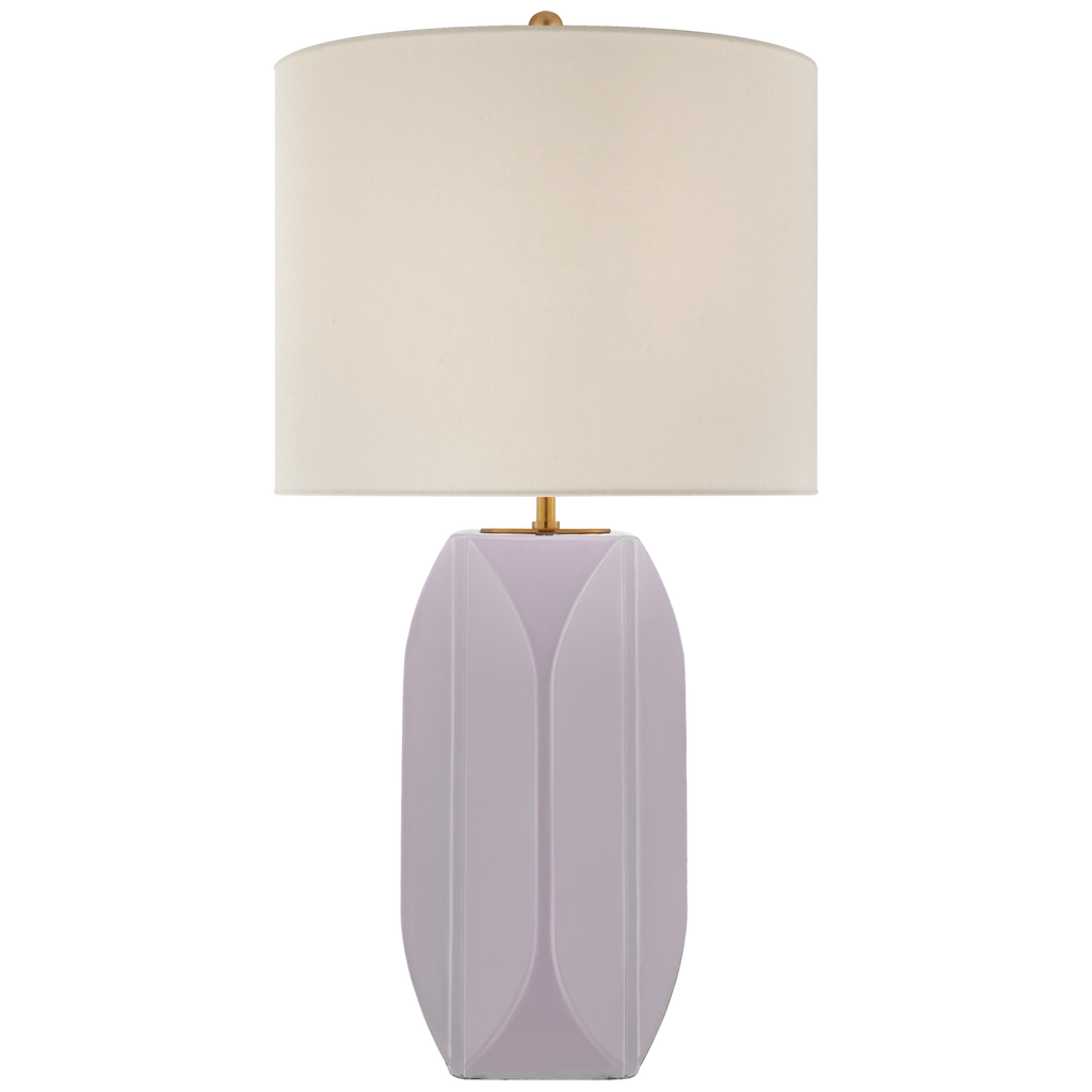 Carmilla Medium Table in Lilac with Linen Shade