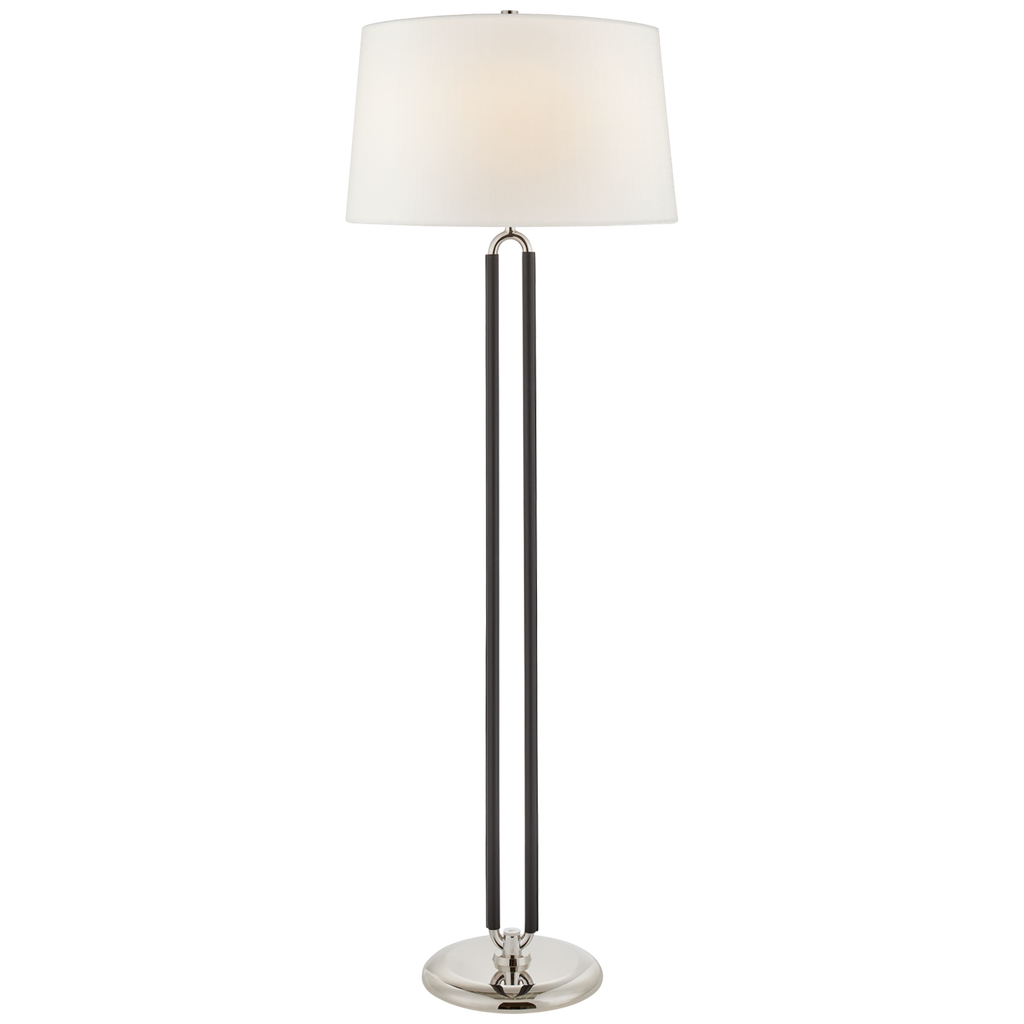 Cody Large Floor Lamp in Polished Nickel and Chocolate Leather with Linen Shade