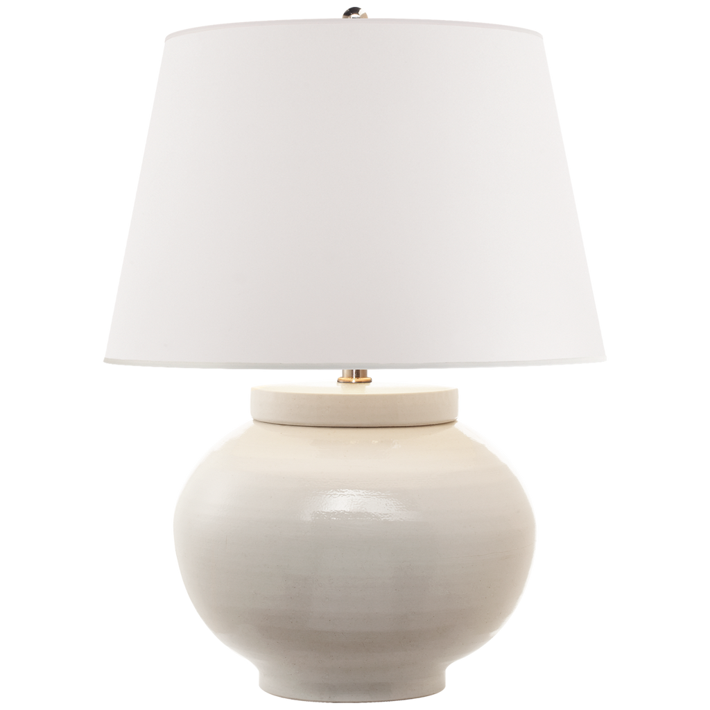 Carter Small Table Lamp in White Porcelain with White Paper Shade