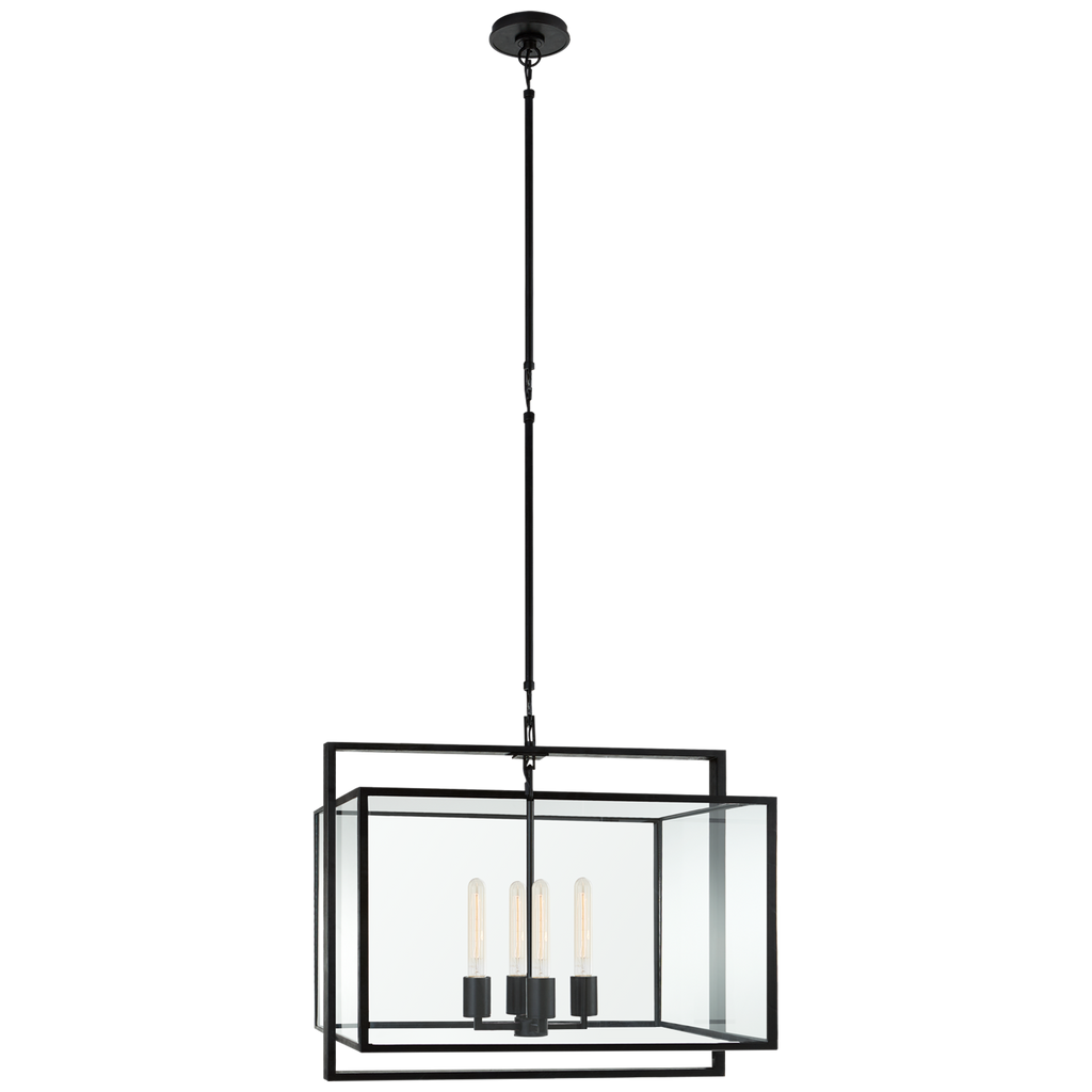 Halle Medium Wide Lantern in Aged Iron with Clear Glass