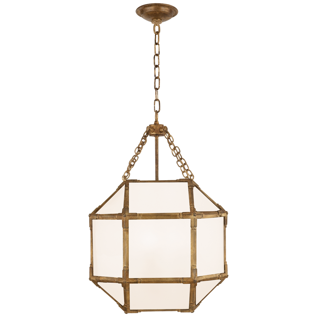 Morris Small Lantern in Gilded Iron with White Glass