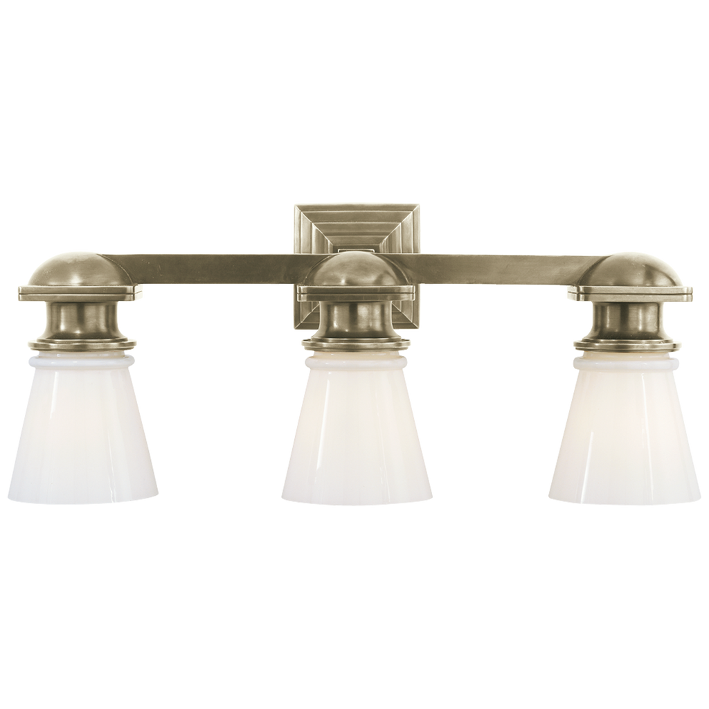 New York Subway Triple Light in Antique Nickel with White Glass