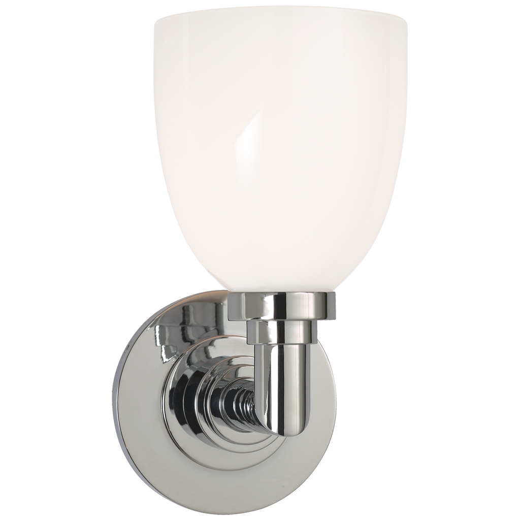 Wilton Single Bath Light in Chrome with White Glass