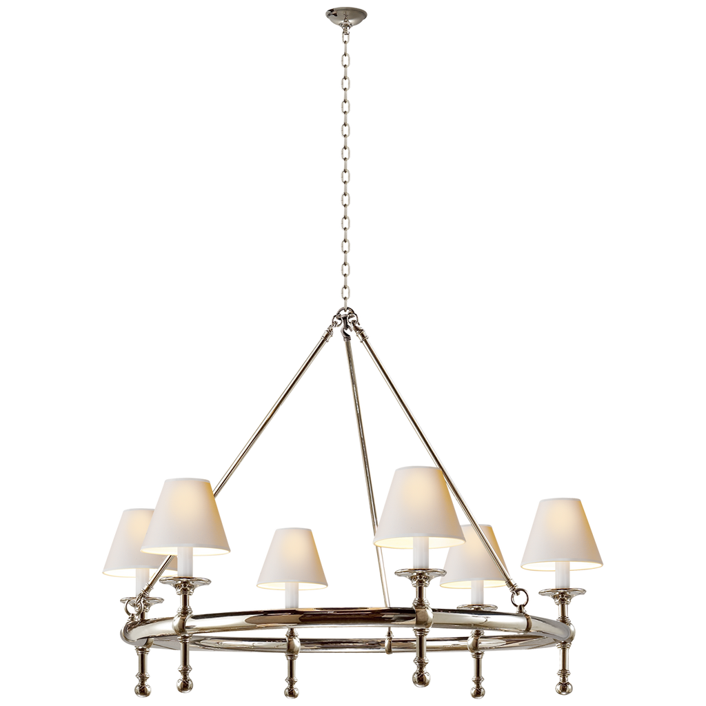 Classic Ring Chandelier in Polished Nickel with Natural Paper Shades