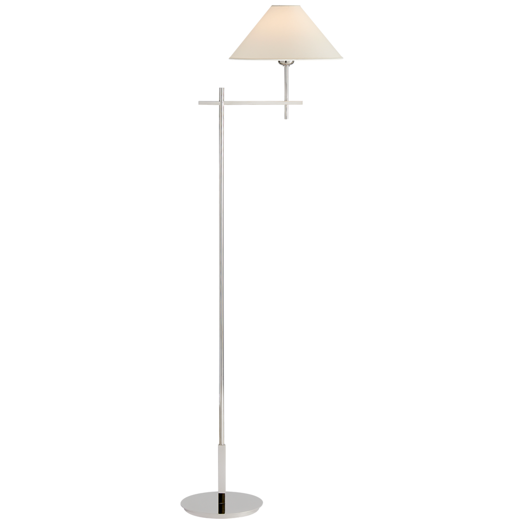 Hackney Bridge Arm Floor Lamp in Polished Nickel with Natural Paper Shade