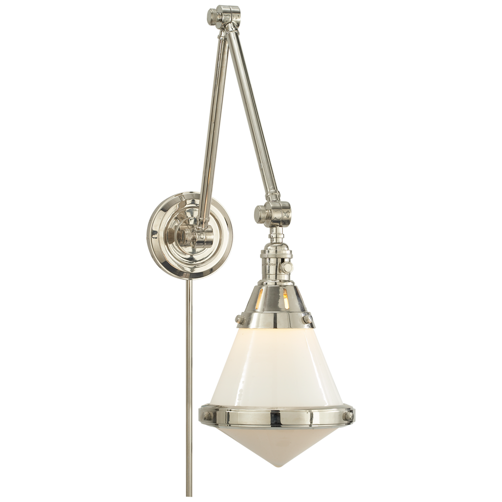 Gale Library Wall Light in Polished Nickel with White Glass