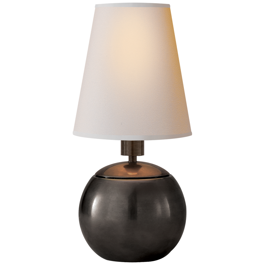 Tiny Terri Round Accent Lamp in Bronze with Natural Paper Shade