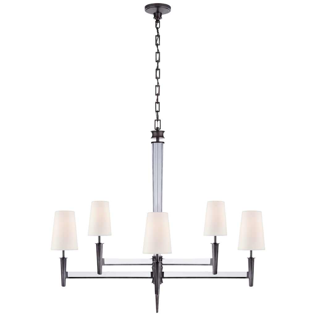 Lyra Two Tier Chandelier in Bronze and Crystal with Linen Shades