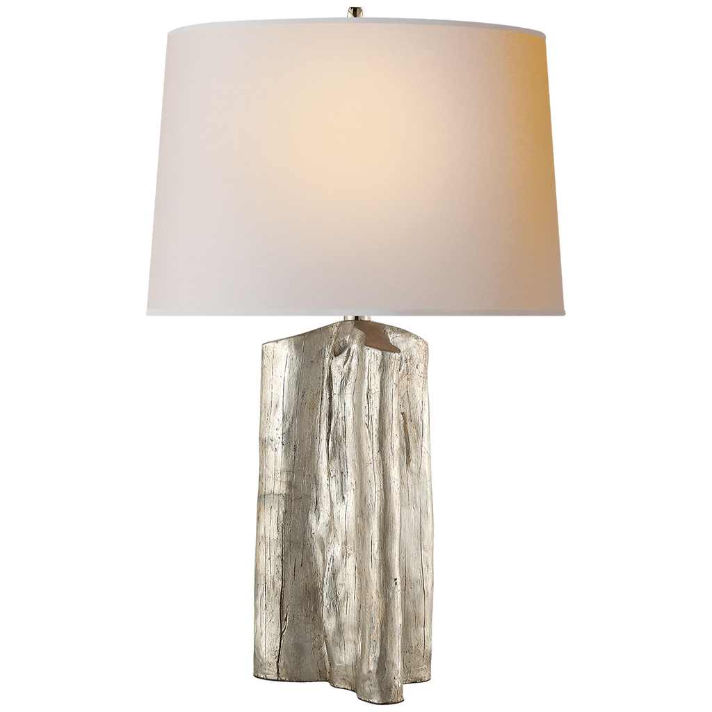 Sierra Buffet Lamp in Burnished Silver Leaf with Natural Paper Shade