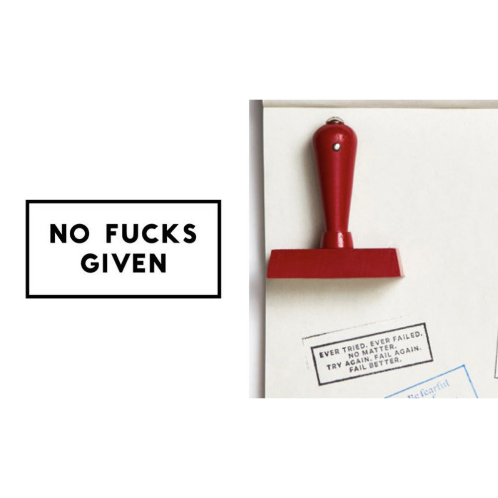 No Fucks Given Red Rubber Stamp in White Pouch
