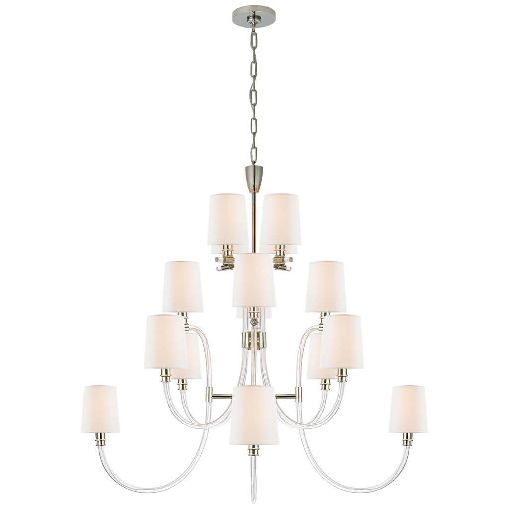 Clarice Large Chandelier in Clear Acrylic and Polished Nickel with Linen Shades